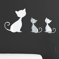 Sexy cat mirror wall stickers child real decoration wall stickers three-dimensional relief mirror