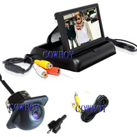Free shipping 4.3 lcd car monitor foldable car backup camera system Rear view car camera PAL/NTSC auto switch