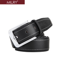 Free Shipping Brand MILRY 100% Genuine leather belt for man waistband pin buckle Black fashion men belt wholesale&retail L0055