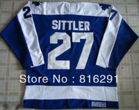 Good quality men men's Ice Hockey #27 Darryl Sittler 27 blue color jersey throwback CCM  jerseys