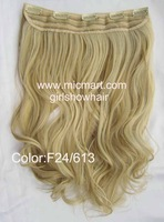 free shiopping, soft hair ponytail,long wavy wig,Clip in hair hairpiece, 55cm,Color F24/613#,1pc