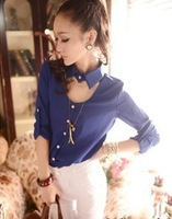 Korea Women's Candy Color Chiffon blouse Long Sleeve Button Down Shirt Tops 3 Colors free shipping