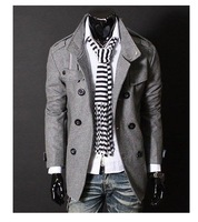 Free shipping Mens Wool jacket Double Platoon Coat PEA Wool Half Trench Coat Badges Dust Coat warm Jacket Black Gray