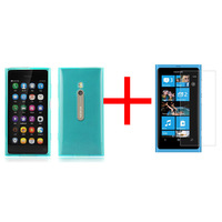 Free shipping 1pc TPU GEL Skin Case cover & 1pc crystal screen protector guard for Nokia Lumia 800 mobile phone