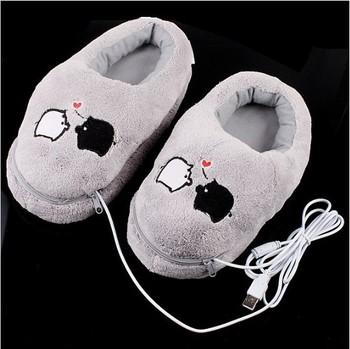 Cute Piggy Plush USB Foot Warmer Shoes Electric Heat Slipper, Free Shipping+Drop Shipping