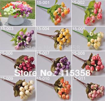 10pcs/lot 15 Flowers head Simulation flower Silk Head Artificial Flowers Wedding party Flower Home Decor