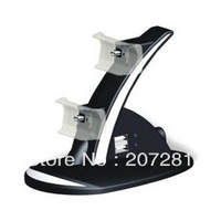 Free shipping -Video Game Accessories Blue LED Dual Charger Stand 2 Charging Dock For Sony Playstation PS3 Game Controller