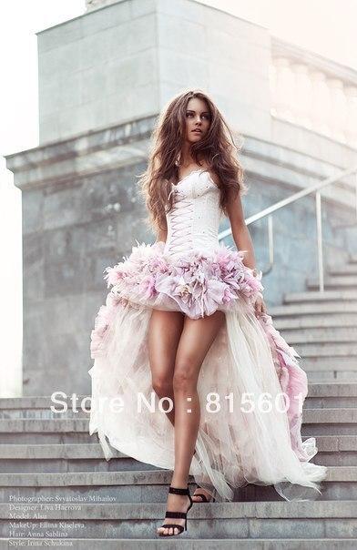 High low satin sweetheart organza pink corset wedding dress for jpg