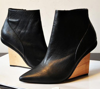 free shipping womens dress party  real leather Quality black color 7cm wedge heels ankle boot shoes