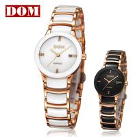 HK-DOM brand gold decoration Ladies watch of female fashion women's watch with white/black ceramic table nurse watchband