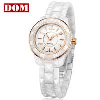 HK brand DOM ladies waterproof ceramic watch for female women's of white colors high grade diamond watch