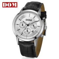 2012 New X-mas hot sale Mens Leather watch of Dom brand 50M waterproof big watchdial for man genuine strap 3tables sports watch