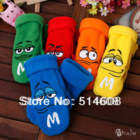 #65B High-grade fleece winter cartoon face child gloves