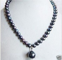 ELEGANT TAHITIAN NATURAL BLACK PEARL NECKLACE PENDAN