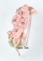 2015 New Arrival Pettigirl Hair Band Accessories Hot Pink Flower Waffle String Children Hair Clip Hair Ornament HA20912-11^^FT