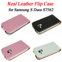 New Arrival! Real leather magnetic vertical flip cover/case/protector for samsung galaxy S Duos S7562, 3 color ,free shiping