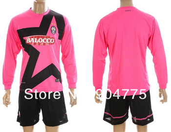 New 12 13 Juventus away pink full sleeve soccer jerseys thai quality embroidery football uniforms brand name kits Free Shipping