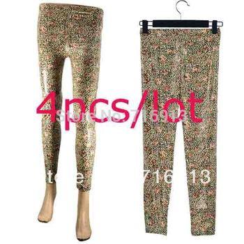 free shipping 2013 Girl's Slim Classical Flowers Leopard Legging Women's Skinny Pencil Pant 8594
