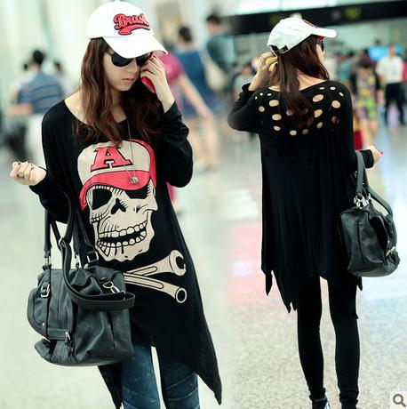 girls plus size women clothing for summer cartoon skull black women's