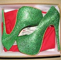 Green crystal platform high heels party pumps shoes