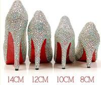 8CM /10CM/12CM/14CM Rhinestone shining queen diamond wedding bridal shoes