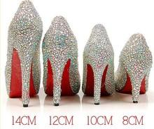 8CM /10CM/12CM/14CM Rhinestone shining queen diamond wedding bridal shoes(China (Mainland))