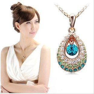 Mixed order Min.Order $10 Korean Style Rhinestone Crystal Purple/Blue Women Alloy Necklace Fashion Jewelry Free Shipping