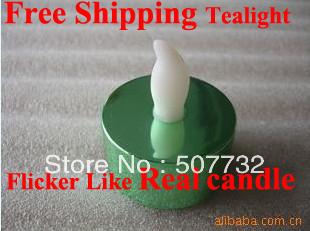 Free shipping 2013 New Year Decoration flameless Metallic Green Base LED Tea Lights, flickering led candle light+1000pcs/lot