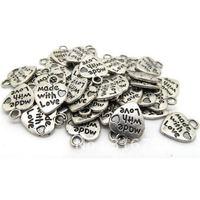 100 Pcs Silver Tone Love Heart Charm Pendants 12x10mm(W01779 X 1)