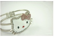 2013 Wholesale Hot oil dripping alloy rhinestone alloy Hello Kitty Bracelet Bangle Free Shipping