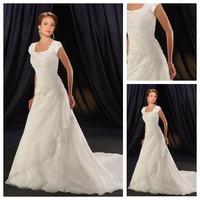 No Waist Split Front Classic & Timeless Formal Scoop Organza Modest Applique Short Sleeve Long Wedding Dress