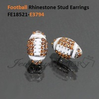 free shipping fee usa football yellow crystal white drop oil earrings stud