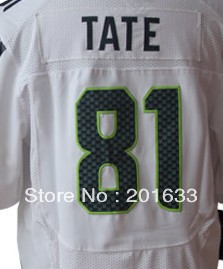 Free shipping fee #81 Golden Tate White 2012 Men's Authentic Elite Cheap American football jerseys, Embroidery logos wholesale(China (Mainland))