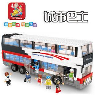 SLUBAN City Bus Series Luxury  Double Decker Building Blocks Children DIY Car Toys  ABS Bricks Bus Passengers Best Gift