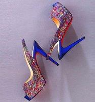 Red bottom rainbow crystal High heels sandals wedding shoes