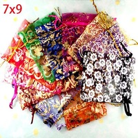 100 Random Mixed Drawable Organza Wedding Gift Bags&Pouches 7x9cm(w00459)