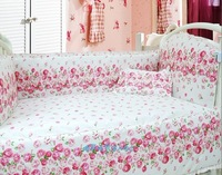 New Spring cover for 10pc bedding for girls,100% cotton crib bedding sets,size 140*70/130*70 pink flowers baby bed crib
