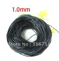 Wholesale Free Shipping Black Round Real Leather Jewelry Cord 1mm 100M Length(w00845)