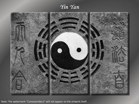 Huge 3 Panel Chinese Philosophy Taoism Yin Yang