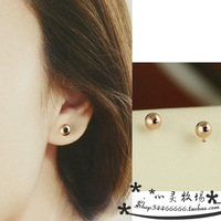 Basic all-match 14k gold golden beads small round ball stud earring