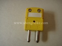 K type Male thermocouple connector, Standard size, Yellow color Round Hollow Pin not including Female Connector