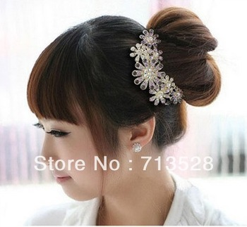 2012 new fashion  luxury petal disc inserted comb hair fork hair ornaments