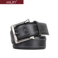 Free Shipping Brand MILRY 100% Genuine leather belt for man waistband pin buckle black fashion men belt high quality gift L0076
