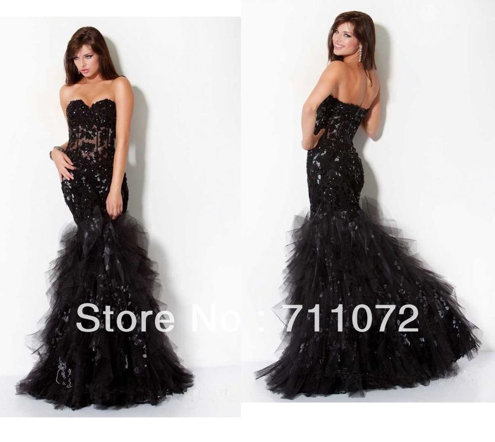 Embroidery beaded applique ruffles tulle black designer evening dress