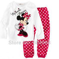 Wholesale Minnie Mouse Baby Pajamas/Pyjamas Suits Clothes Children's Sleepwear Set Kid's Sleep Sets Wear,Free Shipping,6sets/Lot