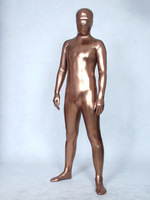 Lycra Rubber Deluxe Coffee Silver Skintight Glow Catsuit Adult Costume Zentai Suits