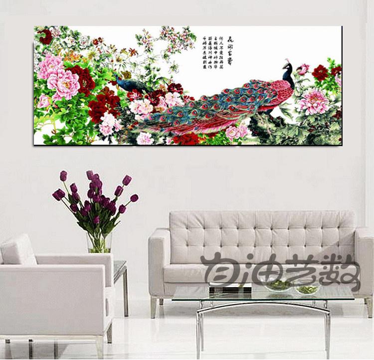 Peony decorativo 80 da pintura da pintura a óleo digital de Diy 200 ricos blooping do pavão