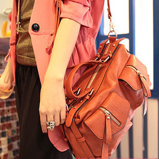 HOT SALE high quality Women motorcycle vintage fashion messenger bagm for women leather orange bag briefcase Promotion!!