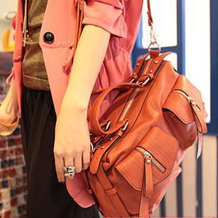 HOT SALE high quality Women motorcycle vintage fashion messenger bagm for women leather orange bag briefcase Promotion!!