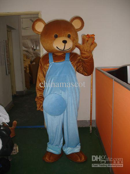On Sale Cheap Teddy Bear Mascot Costume Adult Size Halloween Cartoon Fancy Dress Free Shipping(Hong Kong)